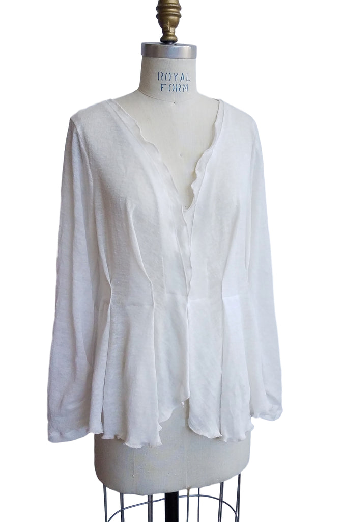 Cinderloop Knit Cardigan White Linen front