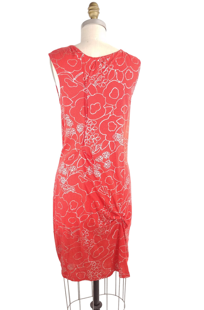 Brighton Dress, red/silver floral, back