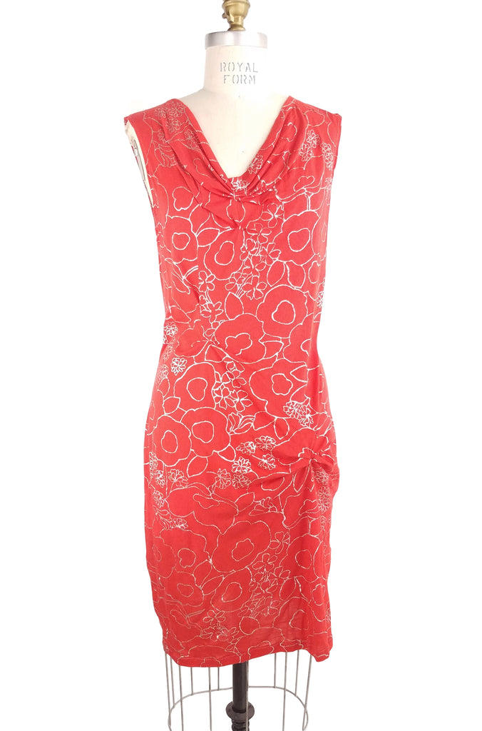 Brighton Dress, red/silver floral, front