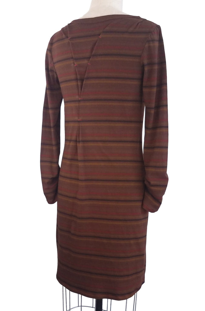 cinderloop brighton dress, chestnut stripe, back
