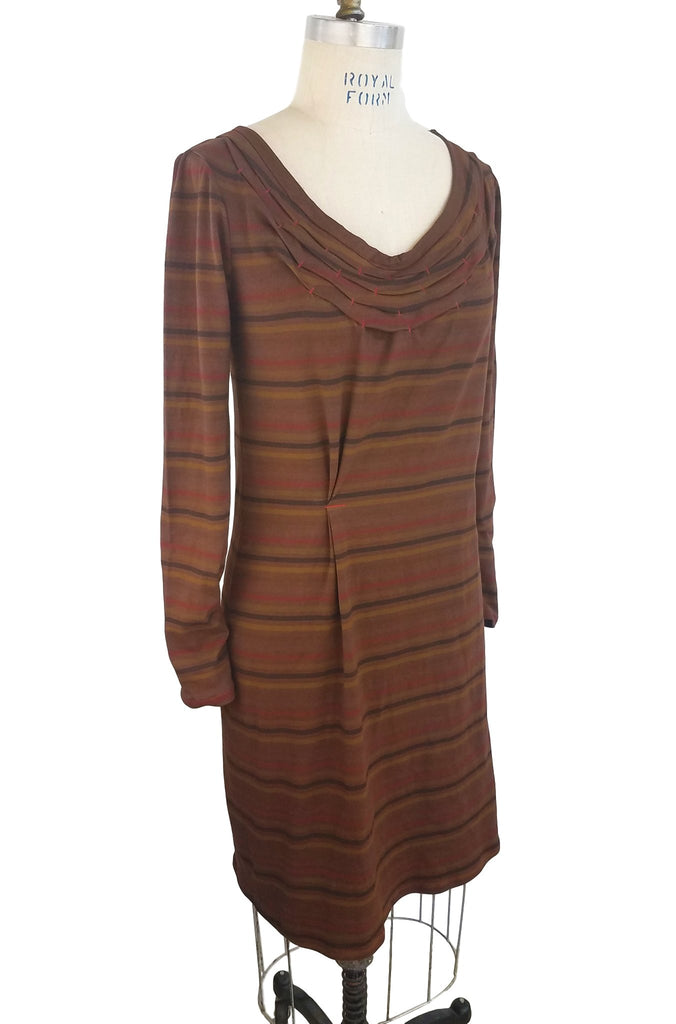 cinderloop brighton dress, chestnut stripe, front