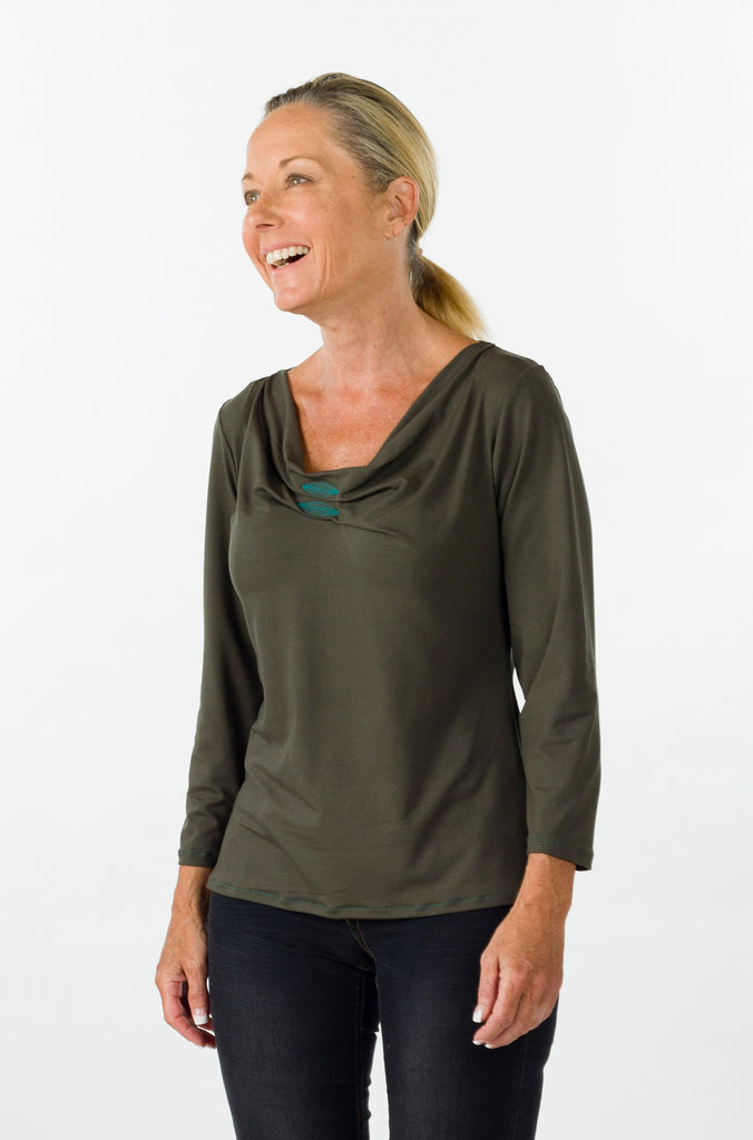 camberwell top olive sleeve front