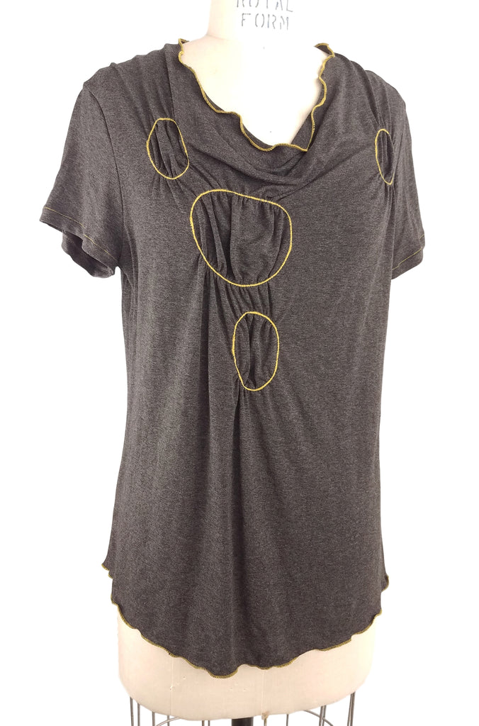 Cinderloop Gathered Circle, Charcoal/yellow front
