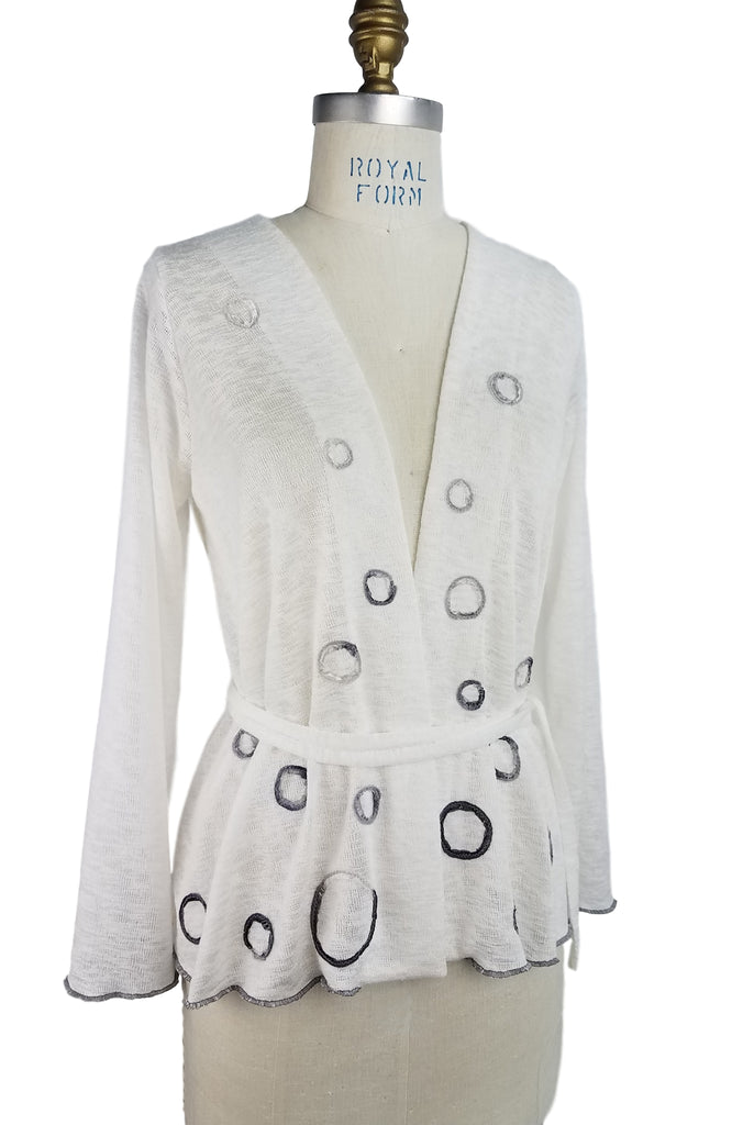 Cinderloop Circle Cardigan ivory front belt