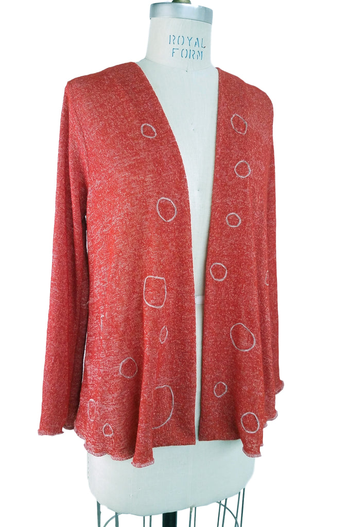 Cinderloop Circle Cardigan Persimmon front belt