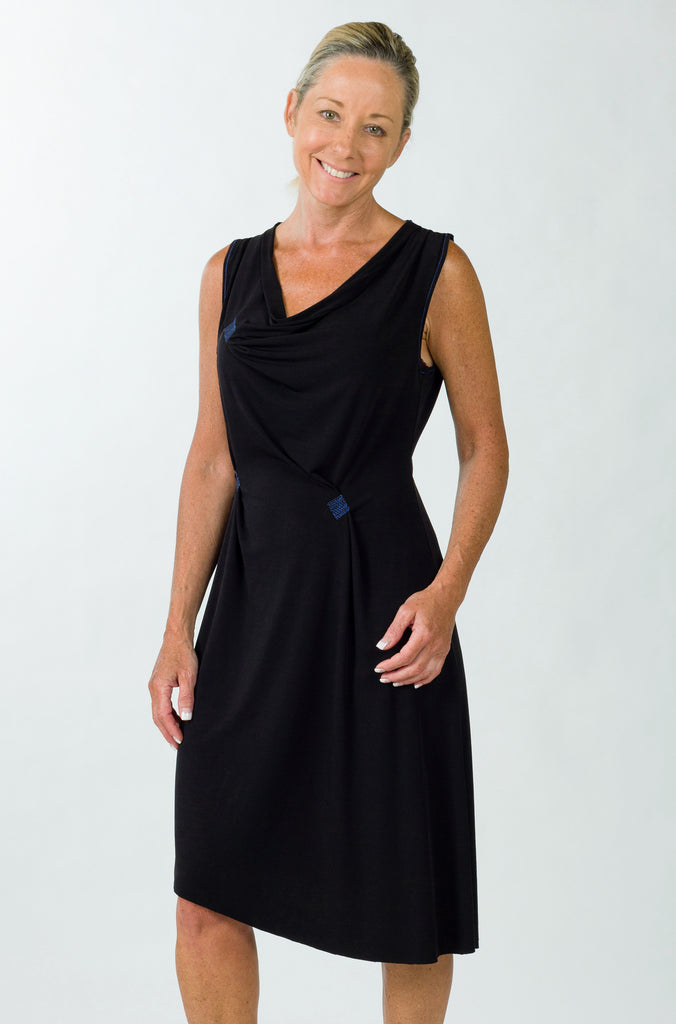 drape dress black front