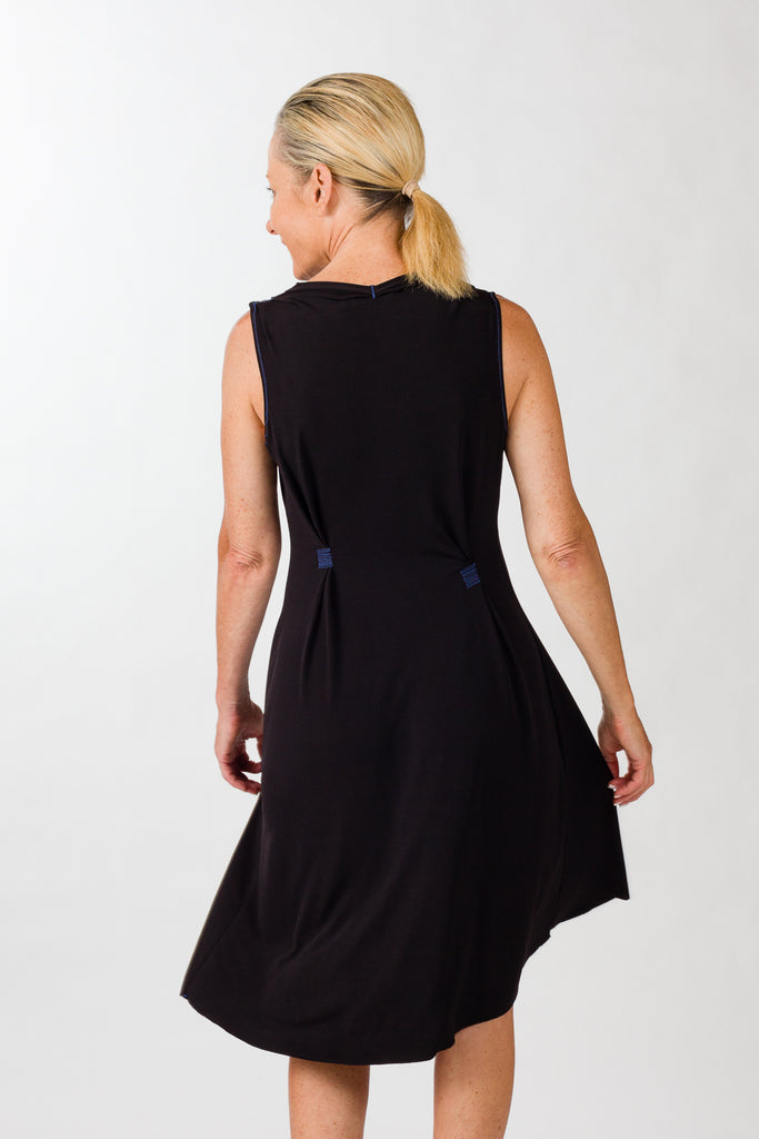 drape dress black back
