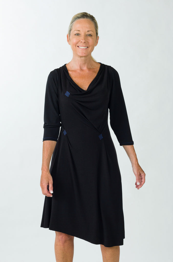 drape dress black sleeve front