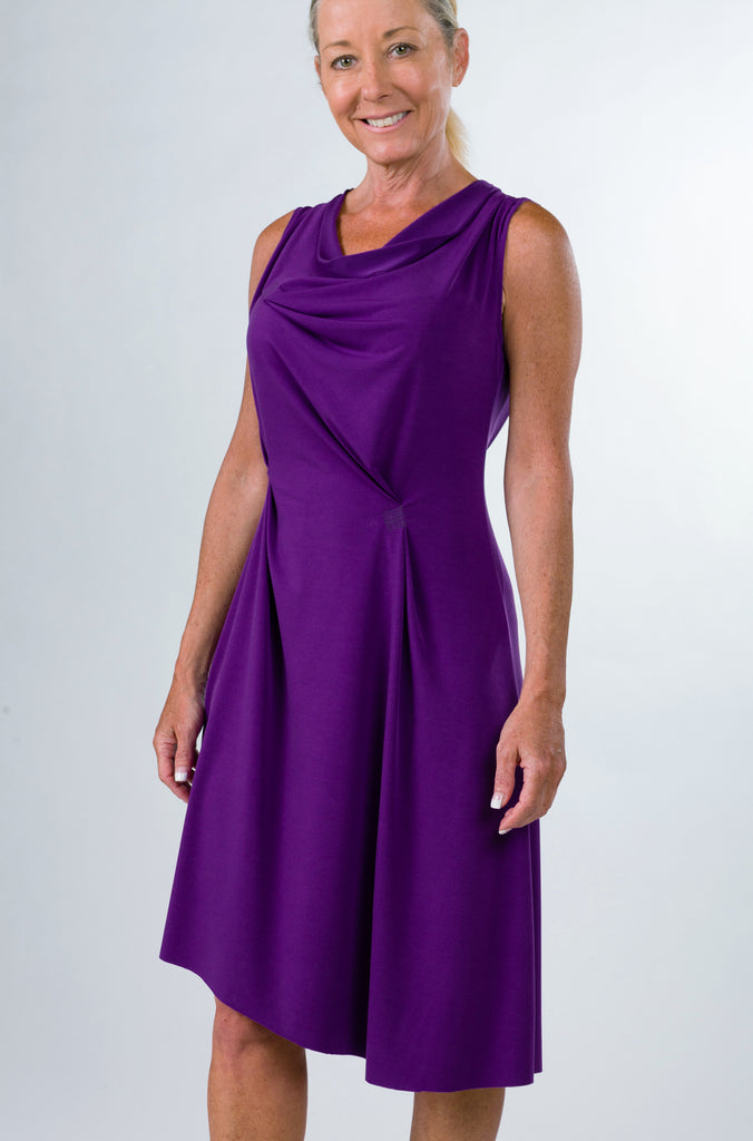drape dress grape front