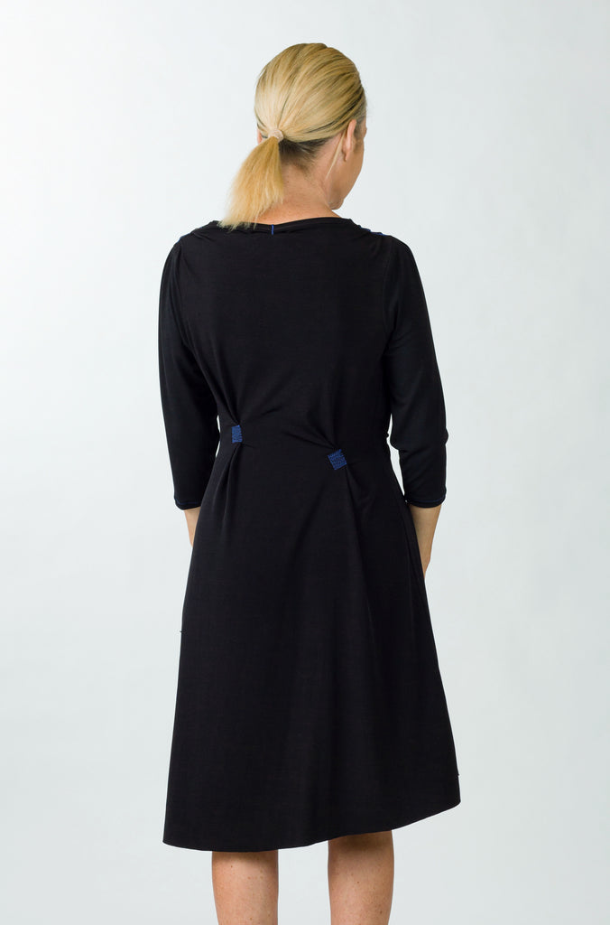 drape dress black sleeve back