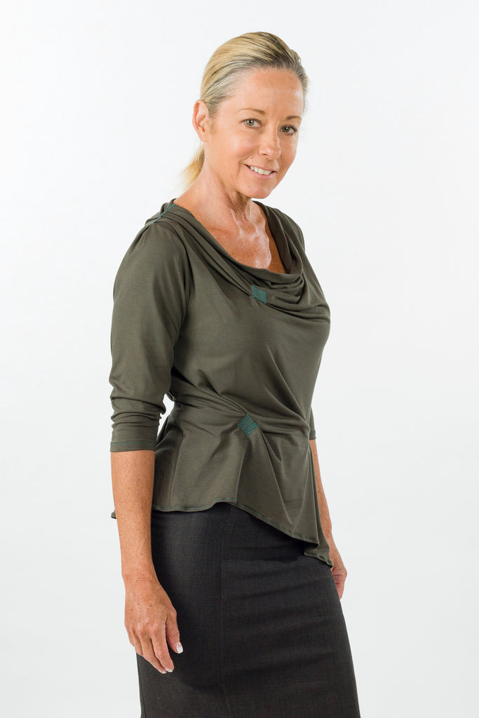 drape top olive sleeve