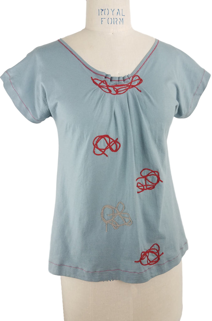 Cinderloop Knotted Top, Pale Blue, front