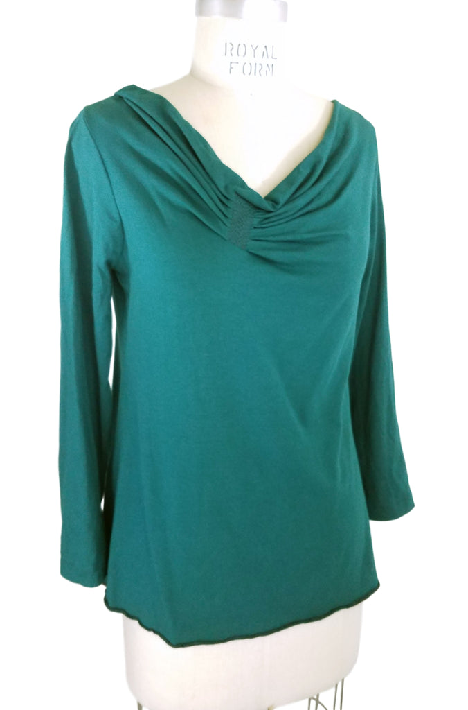 Cinderloop Pleat Top Emerald front