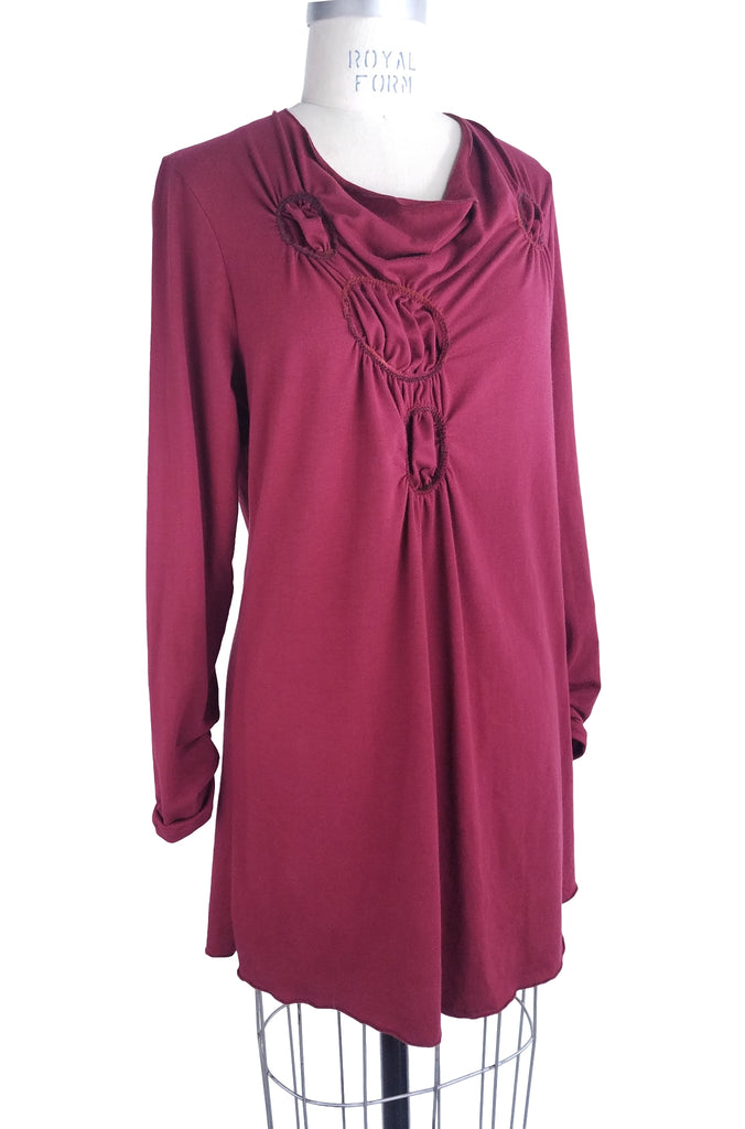 Cinderloop Gathered Circle Tunic, Ruby