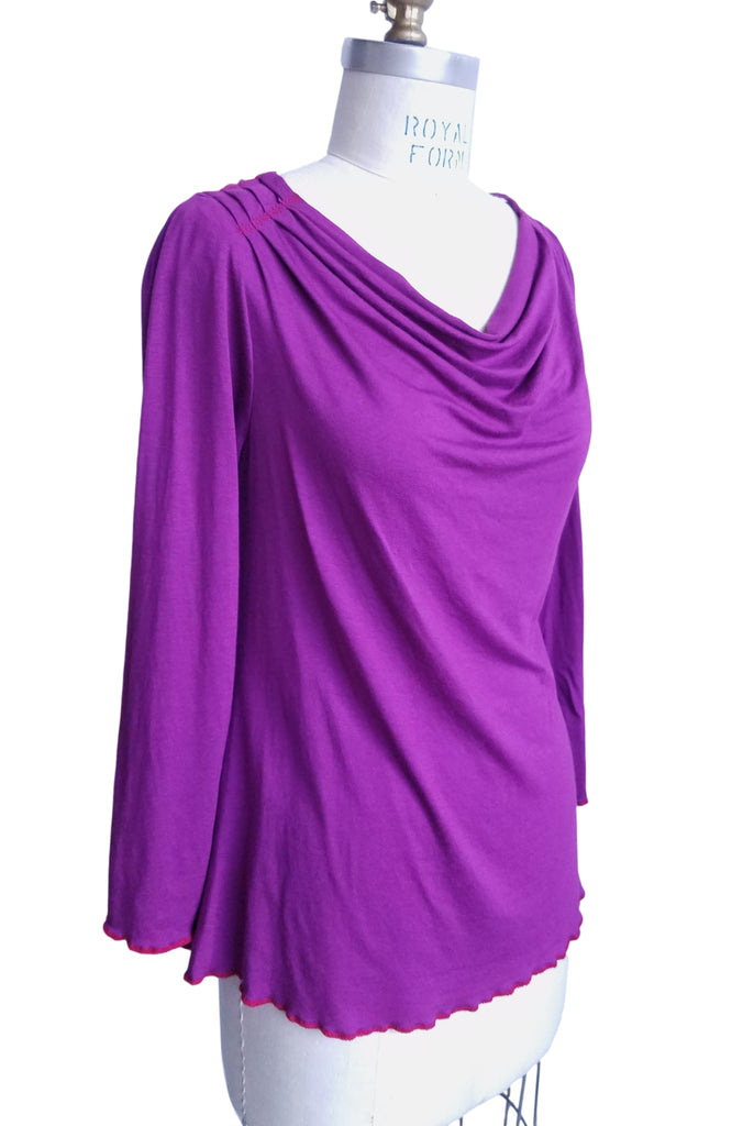 cinderloop simple drape top magenta front full