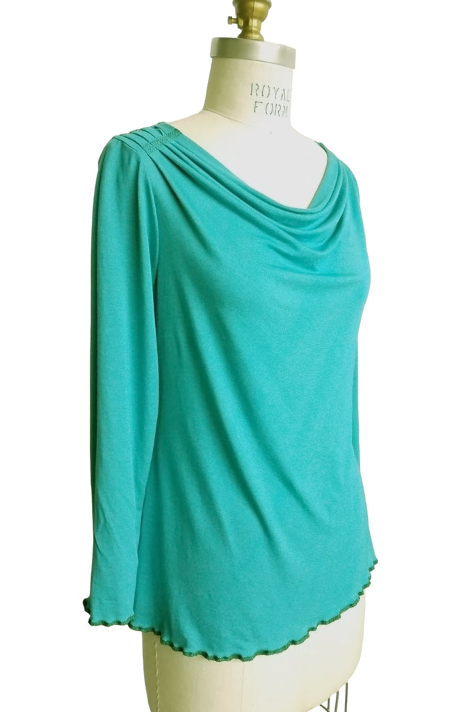 Cinderloop Simple drape top turquoise front