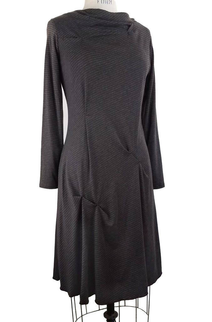 Funnel Neck Dress, Grey Stripe, front