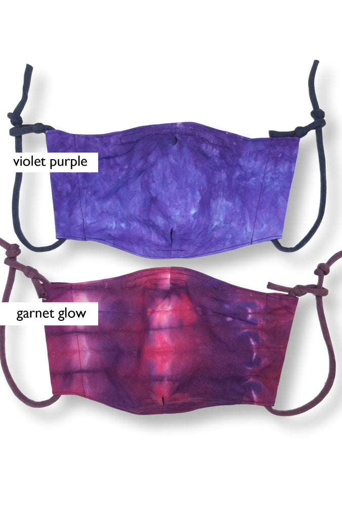 violet purple and garnet glow masks