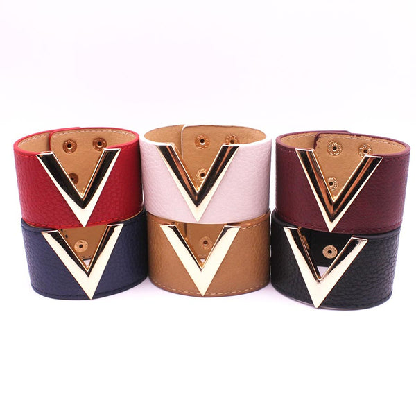Cindy V-Bar Fashion Leather Bracelets - Jason Gerald