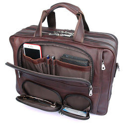 The Traveler Briefcase - Red Brown