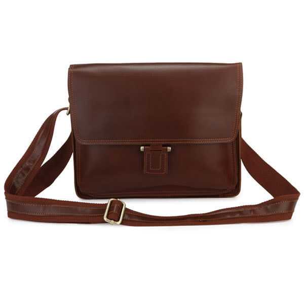 "11"" Leather Messenger Bag - 7049B - Jason Gerald"