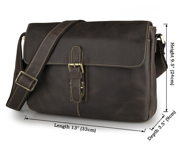 "13"" Leather Messenger Bag - 7084R-1 - Jason Gerald"