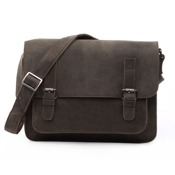 "12"" Leather Messenger Bag - 7089J - Jason Gerald"