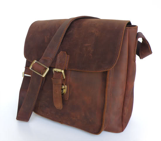"12.5"" Leather Messenger Bag - 7111R"
