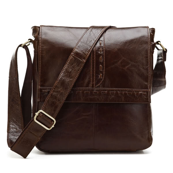 "11"" Leather Messenger Bag -  7125B - Jason Gerald"