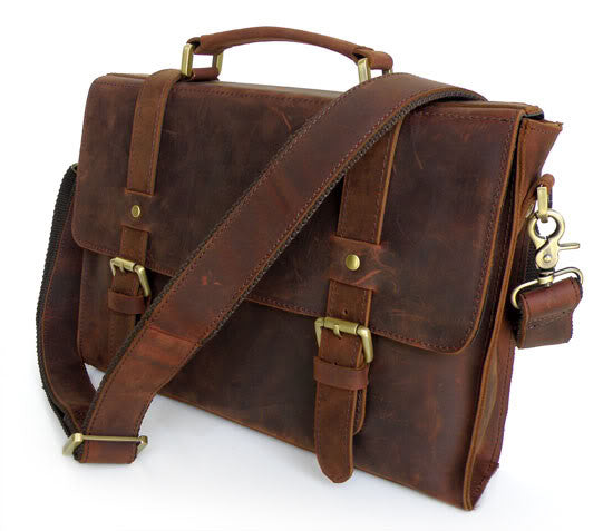 "13"" Leather Messenger Bag - 6076 - Jason Gerald"