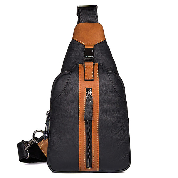 The Kevin - Black Leather Sling Bag