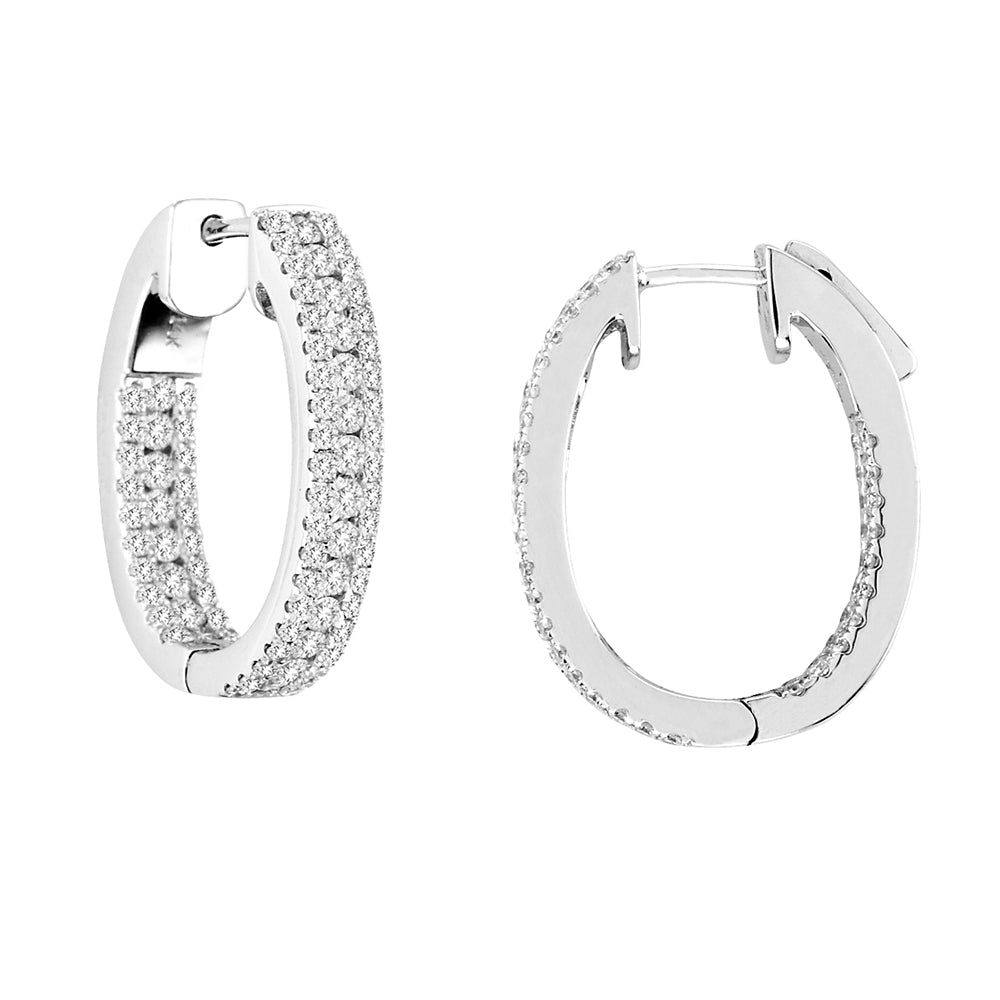 INSIDE-OUT OVAL SHAPE DIAMOND HOOPS