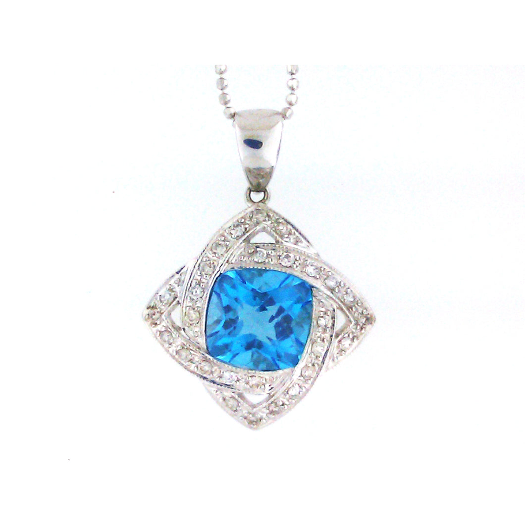 Cushion Cut Blue Topaz Pendant