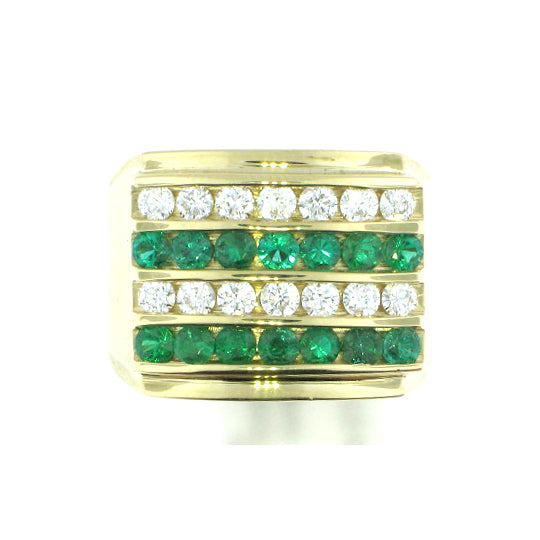 4 Row Emerald Ring