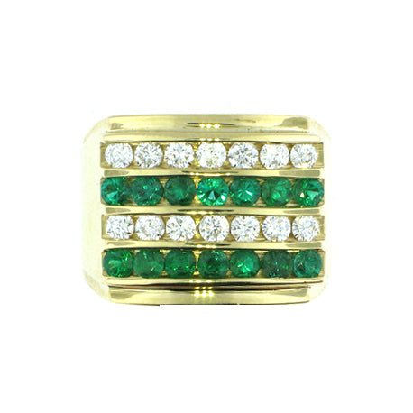 4 Row Men's Diamond & Precious Stone Ring