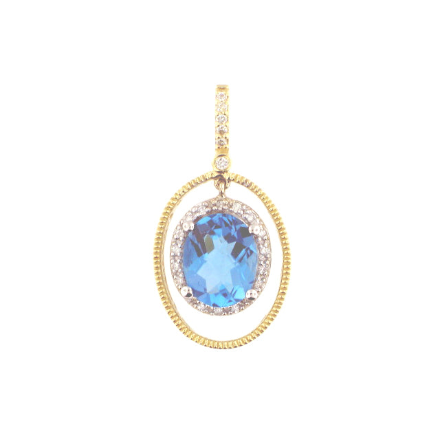 Oval Cut Blue Topaz Pendant