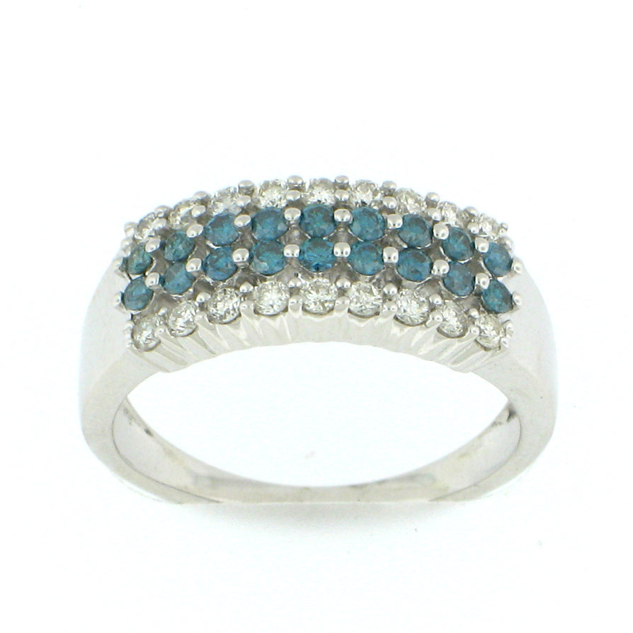 4 Row Blue Diamond Ring