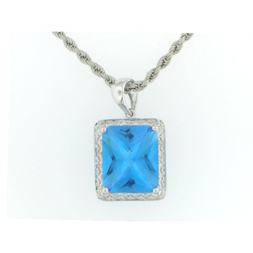 Radiant Cut Blue Topaz Pendant