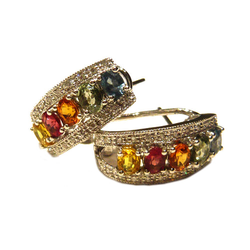 Multi-Colored Sapphire & Diamond Earrings