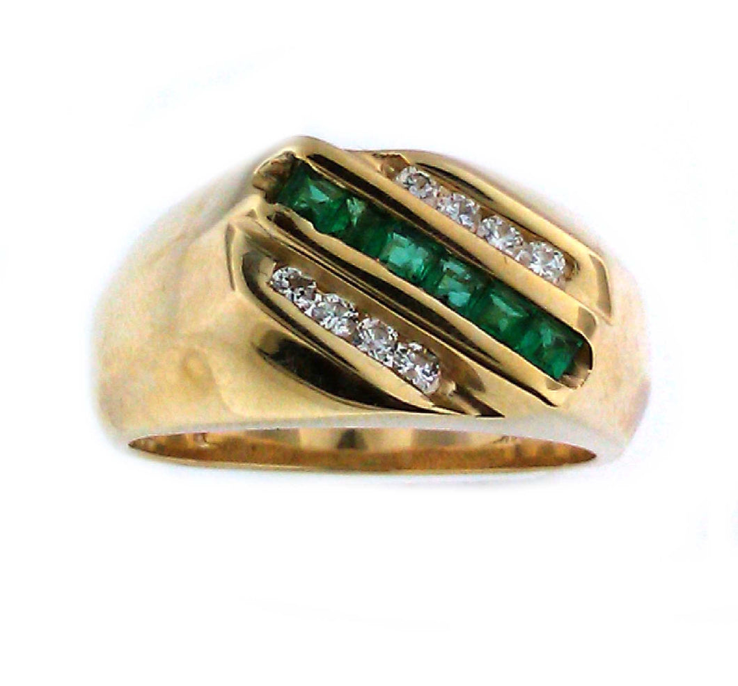 3 Row Emerald Ring