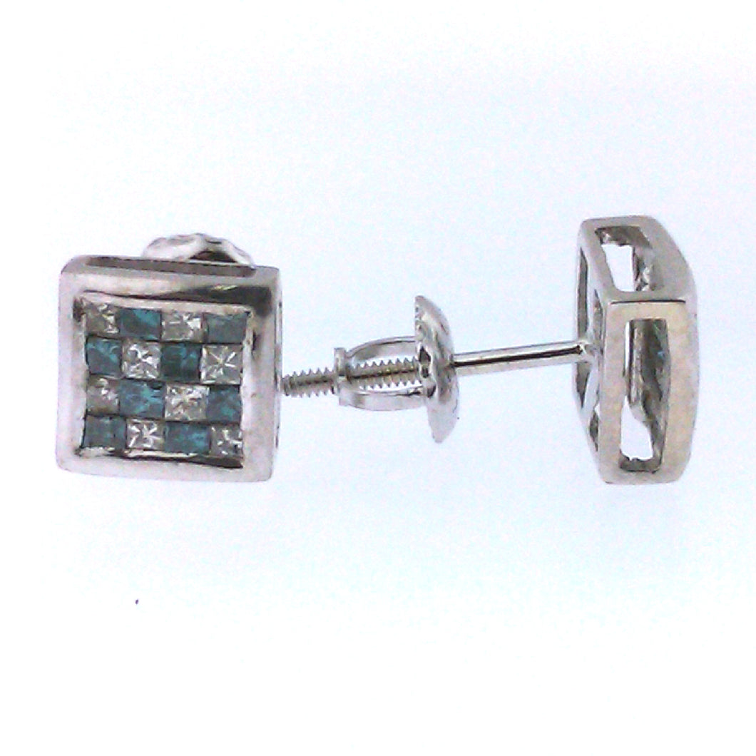 Checkered Blue Diamond Earrings