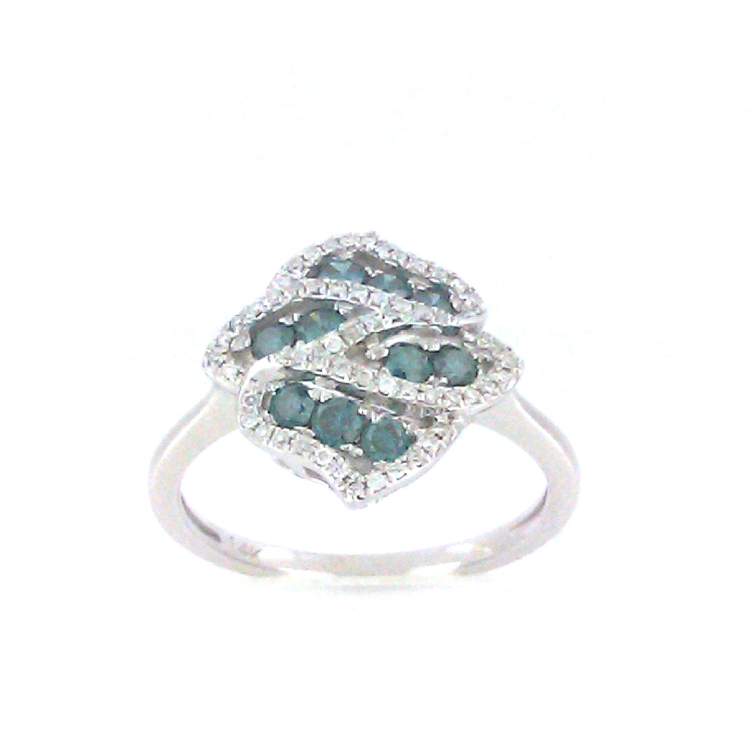 Intertwined Blue Diamond Ring