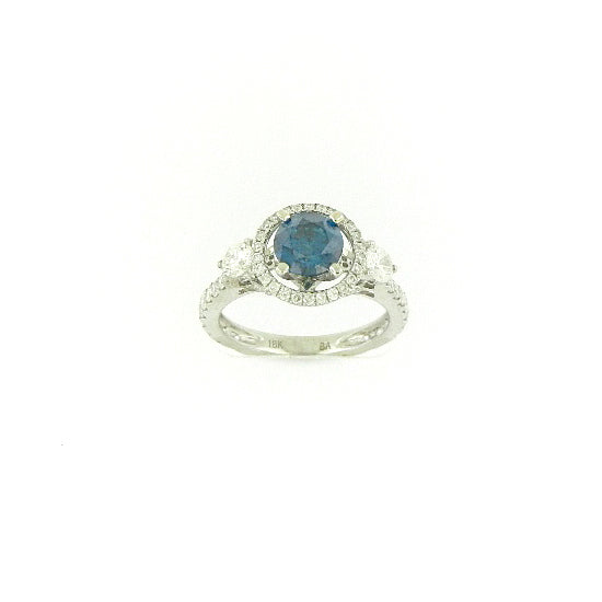 Halo Blue Diamond Ring