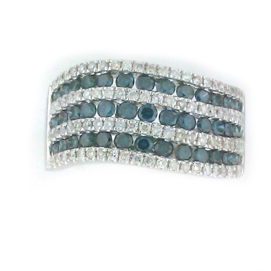 Swirl Blue Diamond Ring