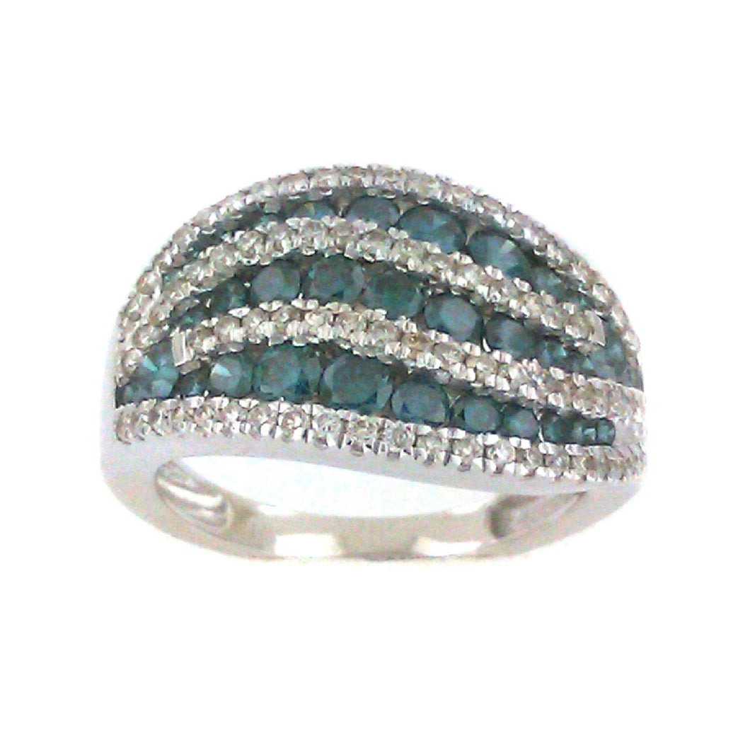Wavey Blue Diamond Ring