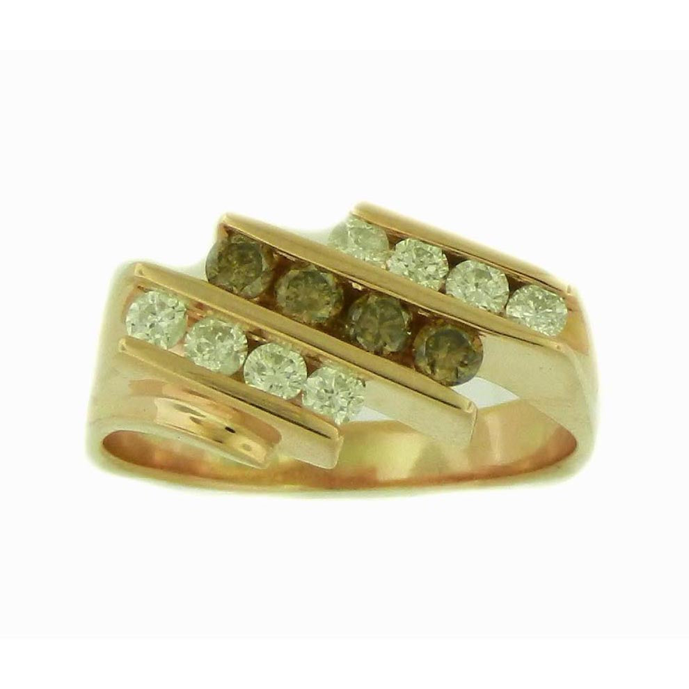 3 Row Brown Diamond Ring