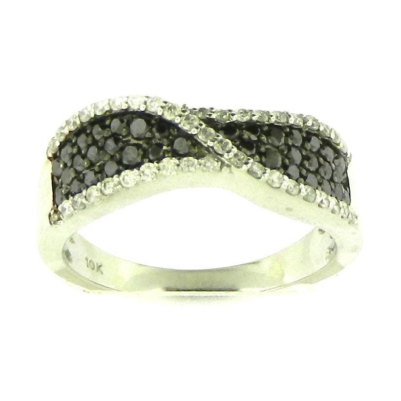 WAVY BLACK DIAMOND RING
