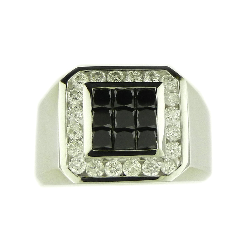 Men's White & Black Diamond Ring