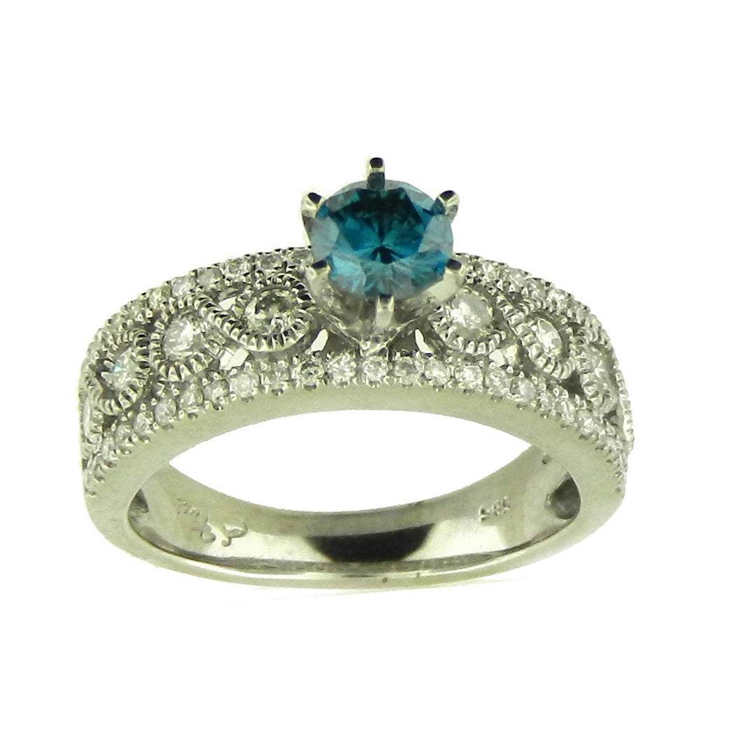 Solitaire Blue Diamond Ring