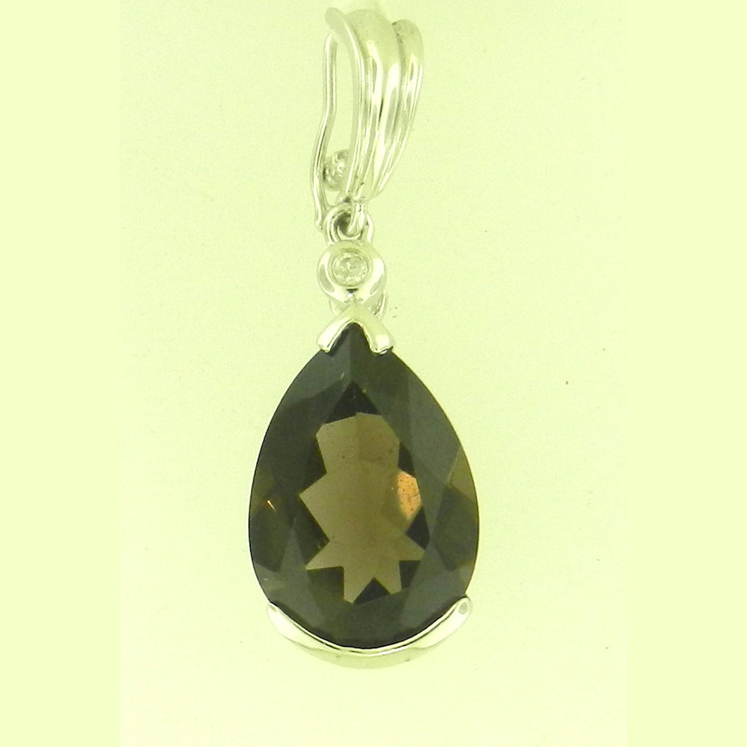 Tear Drop Smokey Topaz Pendant
